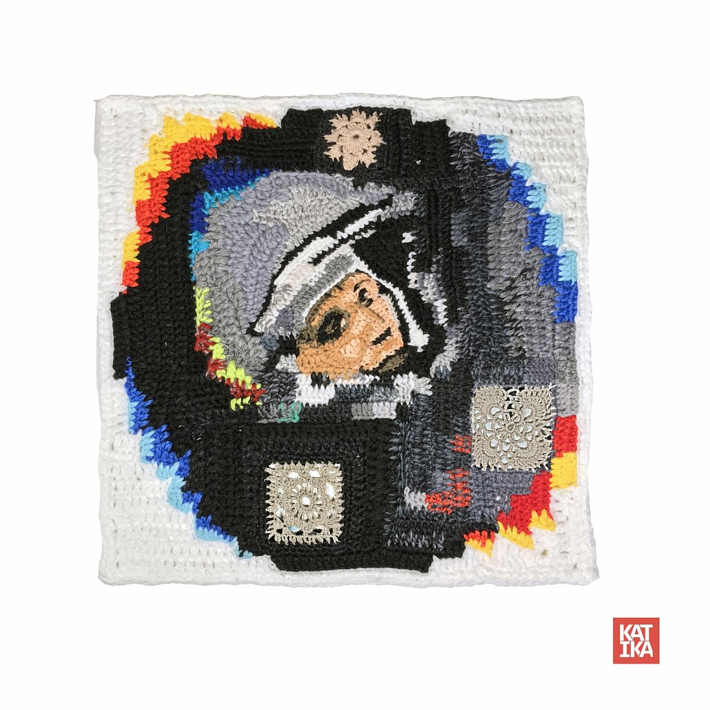 Grannie's pixel: in memory of Yuri Gagarin, the First Man in Space. 40/40 cm, wool/acryl - 2019